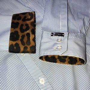NWT Express The Essential Shirt, Blue & Cheetah, M